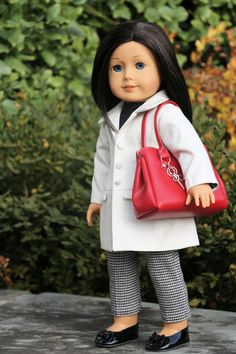 American Girl Doll Clothing White Jacket Black by NoodleClothing 50.09