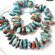 Peacock Blue Vista Jasper Chunky Nugget Beads FULL STRAND UncommonBeads@etsy.com $13