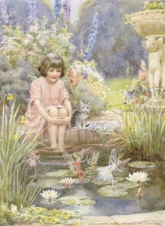 The Water-Lily Pond by Margaret W Tarrant Postcard from Laura in Nijmegan, Netherlands Vintage Fairies, Artist Biography, Lily Pond, Fairy Art, Water Lilies, Artist Names, Art Reproductions, Retro, Faeries