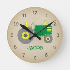 Shop Vintage Green Tractor Rustic Nursery Round Clock created by doodlelulu. John Deere Nursery, Tractor Nursery, Tractor Room, Boys Tractor Bedroom, Tractor Decor, John Deere Kids, Rustic Nursery Decor, Bedroom Decor, Kids Room Wall Art