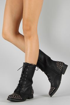 Bumper Frances-02 Studded Spike Military Lace Up Boot $38.10  OH MY GOD I WANT THEM