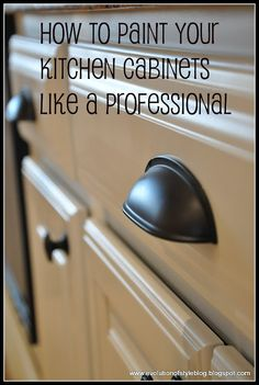 Painting kitchen cabinets- great tutorial and links to other how-tos. #furnituremakeover #paint