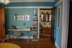 "love!  benjamin moore paints - ""tranquil blue"" on the bottom, ""majestic blue"" above the picture rail"