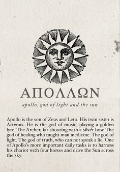 Apollo, God of Light and the Sun