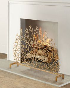 Shop Coral Design Decorative Fireplace Screen at Horchow, where you'll find new lower shipping on hundreds of home furnishings and gifts. Decorative Fireplace Screens, Small Fireplace, Gas Fireplace, Fireplaces, Fireplace Tools, Modern Fireplace, Fireplace Design, Coral Design, Stone Facade