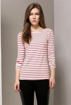 Brief Round Neck Long Sleeve Striped Women's T-Shirt