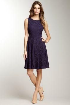 Jones New York Sleeveless Pleated Purple Lace Dress ... bridesmaids