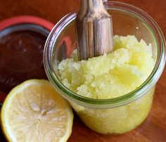 Lemon Honey Scrub.  (Don't be afraid to scrub hard!)  1 cup sugar, 1/2 cup olive oil, Juice of 1 lemon, 1 tbsp honey
