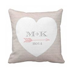 Personalized White Heart and Arrow Wedding Cotton Anniversary Gift Pillow Cover by Jolie Marche