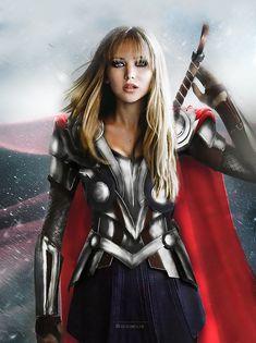 Jennifer Lawrence en Thor | Une artiste a inversé le genre des Avengers, et le résultat est parfait