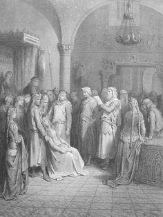 King Arthur Reading the Letter of Elaine by: Gustave Doré (Artist) from: Elaine -  1867