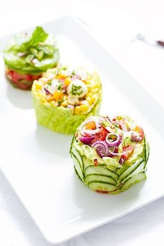 Make These Adorable Mini Salad Cakes for Your Next Potluck! - Mexican-Street-Corn-Salad-cake More - Appetizer Recipes, Salad Recipes, Cucumber Recipes, Vegetarian Appetizers, Appetizer Salads, Salad Cake, Good Food, Yummy Food, Cooking Recipes