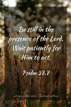 """Be still before the LORD and wait patiently for him; do not fret when people succeed in their ways, when they carry out their wicked schemes."" ‭‭Psalm‬ ‭37:7‬ ‭NIV‬‬ http://bible.com/111/psa.37.7.niv"