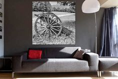 Rustic Photography Wall Art: Black and White Broken Wagon Wheel in Field / Ready to Hang or Display Mounted Standout Square Print (RMU027) by RMUphoto on Etsy
