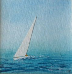 Original minature watercolour painting yachts by SeasideStudiosUK