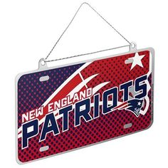 New New England Patriots NFL Metal License Plate Holiday Christmas Ornament