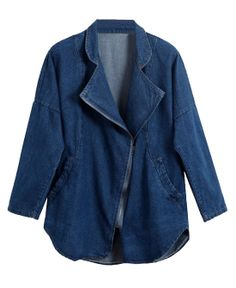 Inclined Zipper Loose Fit Denim Coat With Batwing Sleeves