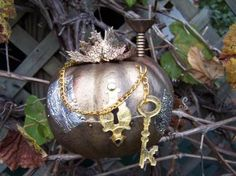 Love this Steampunk pumpkin with duct tape! #TYP entry in #plaidcrafts 4th Annual Trick Your Pumpkin craft contest! www.TrickYourPumpkin.com