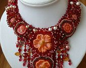Bead embroidered necklace ELISABETH beadwork