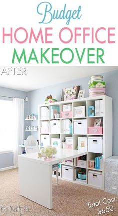 Home Office Makeover Reveal - Two Twenty One Budget Home Office / Craft Room Makeover Chelsea Rose R Craft Room Storage, Room Organization, Craft Rooms, Storage Bins, Storage Cubes, Organizing Life, Storage Solutions, Home Projects, Home Crafts