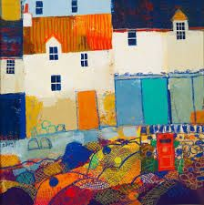 Harbour Postbox - by George Birrell Abstract Landscape, Abstract Art, Abstract Paintings, Kitsch, Isle Of Bute, Colorful Artwork, Collage Art, Art Lessons, Home Art