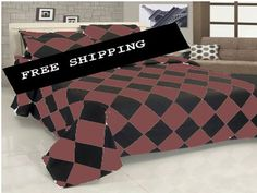 14'' 4 Pc Egyp.Cotton Choc.Brown & Black Diamond Style Duvet Cover Set Twin Xl.
