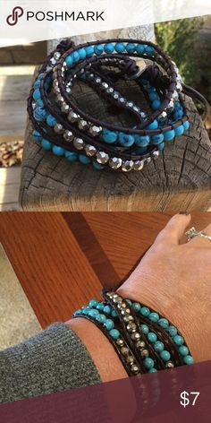 4X Wrap Bracelet, Turquoise and Silver Toned Beads This bracelet will Wrap 4 times around a smaller wrist, 3 times around a larger wrist. Beautiful blue stones, silver toned beads, and brown cording. Bundle with my other items for a discount and to save on shipping. I ship quick! Jewelry Bracelets