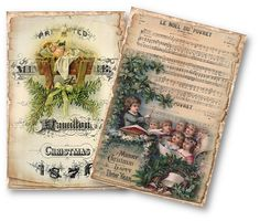 Vintage Christmas Papers Digital Collage Sheet por vintagebyme