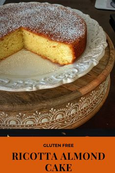 If you have leftover ricotta sitting in your refrigerator then use it into making this delicious Gluten Free Ricotta Almond Cake. The taste of this Ricotta Almond Cake will take you straight to Italy. Gluten Free Cakes, Gluten Free Baking, Gluten Free Desserts, Just Desserts, Gluten Free Almond Cake, Gourmet Desserts, Plated Desserts, Chocolate Olive Oil Cake, Chocolate Loaf Cake