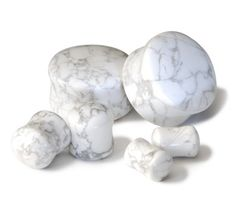 "Howlite Stone Plugs 7/16""-1/2"". $25.00, via Etsy."