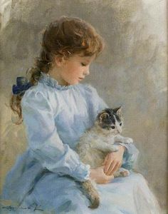 # Razumov Konstantin that reminds me of my daughter at this age with the Brain … - Painting & Drawing She And Her Cat, Illustration, Fine Art, Beautiful Paintings, Vintage Children, Cat Art, Painting & Drawing, Vintage Art, Art For Kids