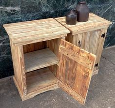 Natural Wood Nightstands Made from Reclaimed Wood. $150.00, via Etsy.