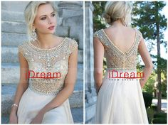 A  Line  Princess    With  Beads  And  Ruffles  Chiffon Prom  Dresses