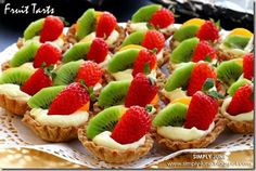 EASY Fruit Tarts - EASY FRUIT TART: (makes 14-16) 1 pkg Pillsbury pie crust, 1 pkg Jello Instant vanilla pudding, Milk, 1 small can Mandarin oranges, fresh strawberries, Kiwi, baking spray