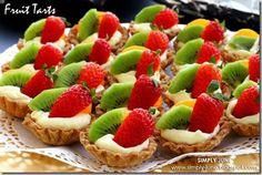 EASY Fruit Tarts - EASY FRUIT TART: (makes 14-16) 1 pkg Pillsbury pie crust, 1 pkg Jello Instant vanilla pudding, Milk, 1 small can Mandarin oranges, fresh strawberries, Kiwi, baking spray