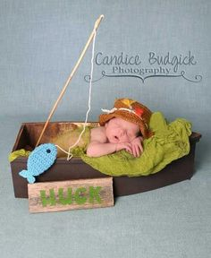 Gone Fishing Newborn Baby Boy Photo Prop Hat and Fish Set for Father's Day