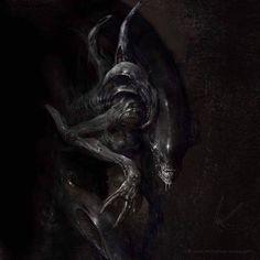Alien by MJ Hiblen Alien Vs Predator, Predator Alien, Arte Alien, Alien Art, Xenomorph, Alien Creatures, Fantasy Creatures, Saga Alien, Saga Art
