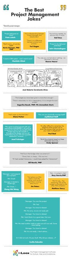 [INFOGRAPHIC] Being a project manager is not an easy job. It requires management skills, leadership skills, communication skills, and of course, project management skills. Project managers are notoriously busy and stressed, but that doesn't mean that they lose their sense of humor along the way. We asked project managers on LinkedIn to share their favorite PM jokes with the InLoox blog.