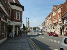 Epsom High Street with the Ashley Centre and Epsom Clock Tower Surrey, Tower, England, Street View, London, Centre, Southern, Clock, Memories