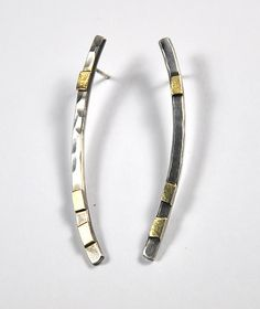 Stick Earrings by Lori Gottlieb. Simple, yet elegant oxidized or bright silver earrings with accents of 22k bi-metal. Posts