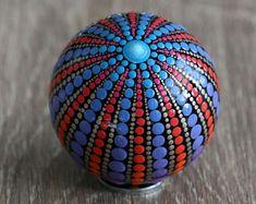 mandala ball 5cm painted glass
