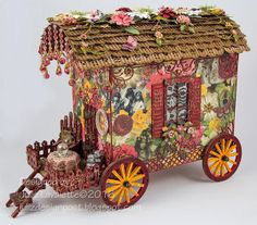 Juliz Design Post : Gypsy Gypsy Caravan Like the strings hanging on front and the wheel design. Gypsy Caravan, Gypsy Wagon, Cardboard Crafts, Paper Crafts, Fairy Garden Houses, Putz Houses, Glitter Houses, Paper Houses, Miniature Houses