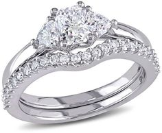 Zales 1-1/5 CT. T.W. Radiant-Cut Diamond Three Stone Bridal Set in 14K White Gold