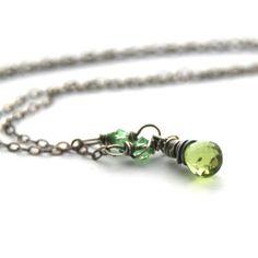 Peridot Necklace Antique Silver Necklace Genuine Peridot Gemstone Gre... JewelryByMagda $30.00