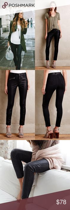 """Anthropologie Pilcro Vegan Leather Moto Leggings BRAND NEW WITH TAGS NEVER WORN!!!  These are so sleek and fab!!  A super-sleek vegan-leather take on the moto pant complete with ponte paneling. From Pilcro, an Anthropologie-exclusive collection of anything-but basics. Polyurethane vegan leather with rayon-nylon-spandex ponte paneling Skinny fit Front welt, back patch pockets Front zip Machine wash Imported  Dimensions Regular: 29.5"""" inseam 9"""" mid rise; 10"""" ankle Anthropologie Pants Ankle…"""