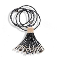 Handmade Dark Silver & Pearl Shimmering Tassel Necklace - Anthos Crafts - 1