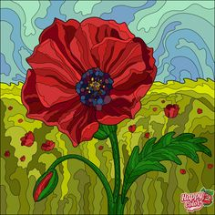 Coloring Apps, Colouring Pics, Adult Coloring, Coloring Books, Happy Colors, Pictures To Paint, Poppies, Jigsaw Puzzles, Quilts