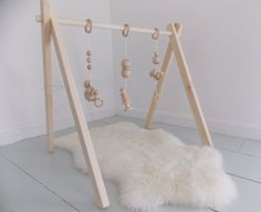 Natural wood baby gym // Eco-friendly baby activity center // RIE/Montessouri toys // Organic baby toys // Non-toxic and chemical free // Handmade