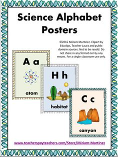 This set of alphabet posters includes one poster per each letter of the alphabet (26 in all) depicting different science-related terms. Great to decorate your walls while providing useful visuals for the kids to identify capital and small letters. Use it to help students recognize different scientific vocabulary words.They can also be printed at half their original size to use them as flashcards. (Original size makes each poster letter-sized).
