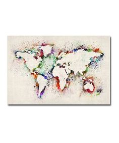 This Paint Splashes Outline World Map Gallery-Wrapped Canvas by Michael Tompsett is perfect! #zulilyfinds